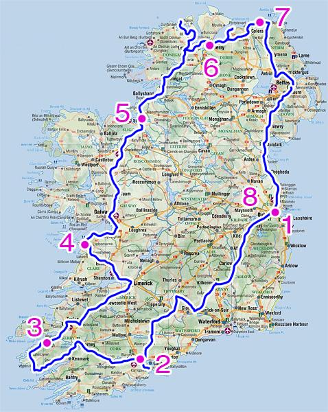 Mappa del viaggio fotografico in Irlanda